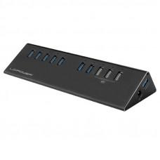 LC-POWER LC-HUB-ALU-2B-10 7+3-portni USB 3.0 zunanji z napajanjem USB hub